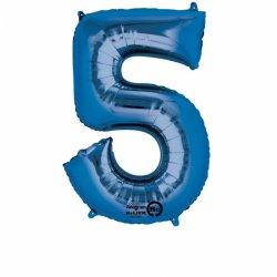 Balon foliowy, cyfra 5 niebieska 34 cale (58x86cm)