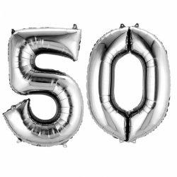 Balony Dekoracje na 50 urodziny - Srebrne Cyfry 5 i 0 - 88cm