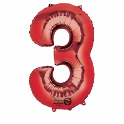 Balon Foliowy Cyfra 3 Czerwona 53x88 cm - na urodziny
