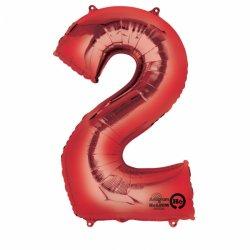 Balon Foliowy Cyfra 2 Czerwona 50x88 cm - na urodziny