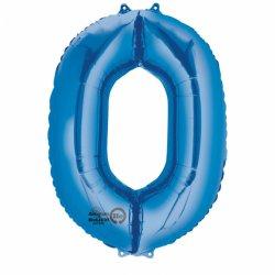 Balon foliowy, cyfra 0 niebieska 34