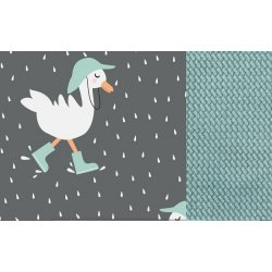 Kocyk Velvet Cotton - Dancing in the rain dark, audrey mint - La Millou