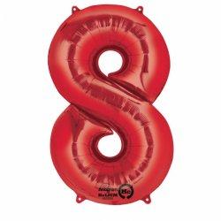 Balon Foliowy Cyfra 8 Czerwona 53x83 cm - na urodziny