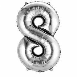 """Balon Foliowy 40"""" Cyfra 8 SREBRNY"""