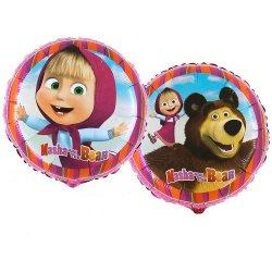 """Foliowy Balon 18"""" Masza i niedźwiedź z Helem"""