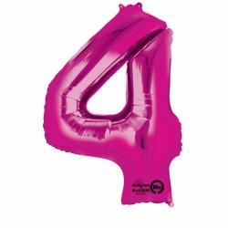 Balon foliowy Cyfra 4 różowa 66 cm x 88 cm