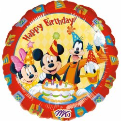 "Myszka Mickey Balon z napisem ""Happy Birthday"" - 43 cm"