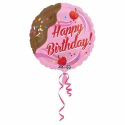 """Lody Czekoladowo Wiśniowe Balon z napisem """"Happy Birthday"""" - 43 cm"""