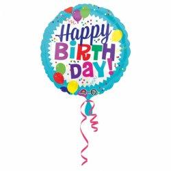 """Balon """"Happy Birthday"""" okrągły w baloniki - 43 cm"""