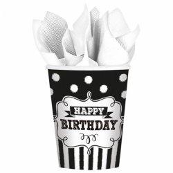 8 kubeczków papierowych na urodziny Happy Birthday