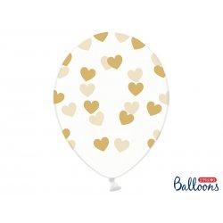 Balon lateksowy Crystal Clear 30 cm - Złote Serduszka