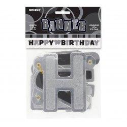 Baner Urodzinowy Glitz Happy Birthday 127 cm - srebrno czarny