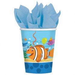 """8 kubeczków papierowych """"Kumple morscy"""" 266ml"""