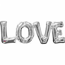 Balon Napis LOVE - srebrny kolor 63 cm x 22 cm