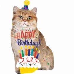 Balon w kształcie Kota - Happy Birthday SuperShape 45 x 83cm