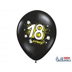 18 & Crazy czarne Balony na 18 stke - 30cm