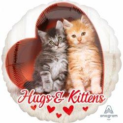 """Balon Kotki """"Hugs & Kittens"""" okrągły z Sercem"""