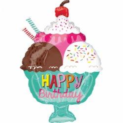 Balon Foliowy LODY z napisem Happy Birthday