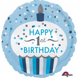 """Balon foliowy 18"""" 1st Birthday Cupcake Boy, niebieski"""