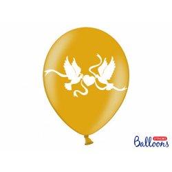 Balon lateksowy 30cm - Białe gołąbki, metalic gold
