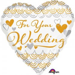 """Balon foliowy ślubny 17"""" z napisem """"For your wedding"""""""