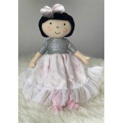 Lalka Hania brunetka w srebrno-koronkowej sukience