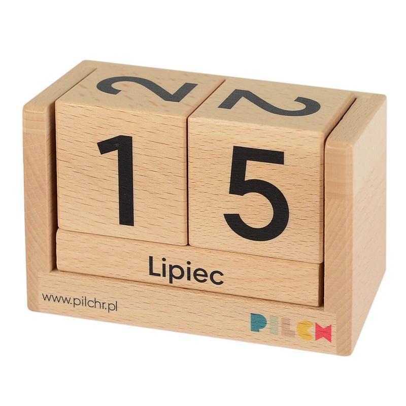 Drewniany kalendarz dla dzieci do nauki cyfr i nazwy miesięcy - Pilch