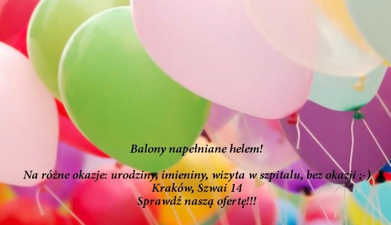 Balony napełniane helem - Kraków