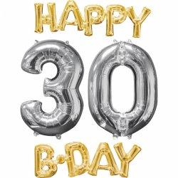 Balony na 30 urodziny + napis Happy Birthday