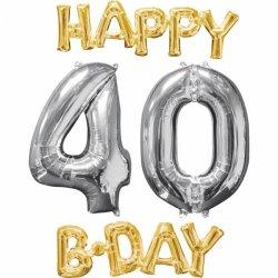 Balony na 40 urodziny + napis Happy Birthday (Super Prezent)