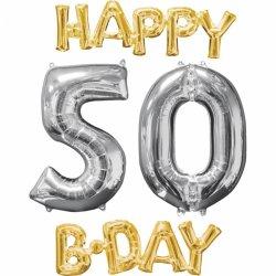 Prezent na 50 urodziny - balony cyfry + napis HAPPY B-HDAY