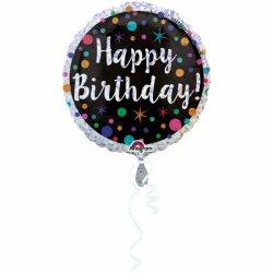 """Balon Kwiaty i napis """"Happy Birthday"""" na urodziny - 43 cm"""
