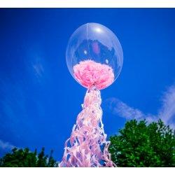 Balon Bubbles z piórkami - 61 cm