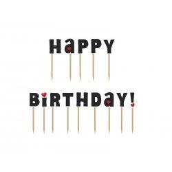 """Karteczki na tort """"Happy Birthday"""" wys. 7cm (14 szt.)"""
