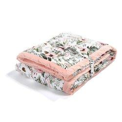 Koc, narzuta dla dorosłych Velvet, Wild Blossom, Powder pink, La Millou