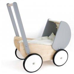 Bajo 74140, Drewniany wózek dla lalki, szary