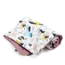 Kocyk Velvet Cotton, Cute birds, French Lavender, La Millou