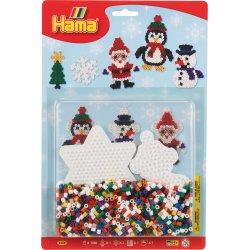 Hama 4202, Świąteczny Bałwanek, pingwinek i mikołaj z koralików midi