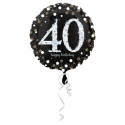 Balon Foliowy na 40 Urodziny - Okrągły Holograficzny 45 cm