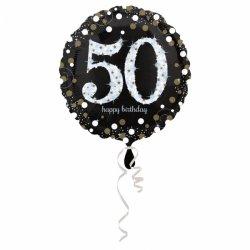 Balon Foliowy na 50 Urodziny - Okrągły Holograficzny 45 cm