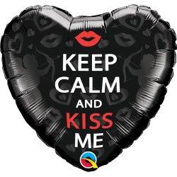 Balon Serce Keep Calm And Kiss Me - 46 cm