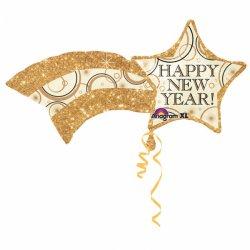 Balon na Sylwestra - Foliowy, Gwiazda Happy New Year