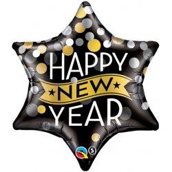 Balon Foliowy - Gwiazda Happy New Year - Nowy Rok