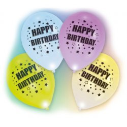 4 balony led z napisem Happy Birthday - świecą 24h