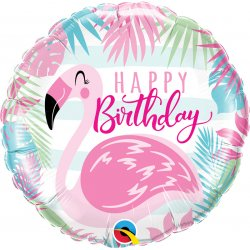 Balon Foliowy Happy Birthday - Różowy Flaming 46 cm
