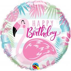 Balon Foliowy Happy Birthday - Różowy Flaming 46 cm