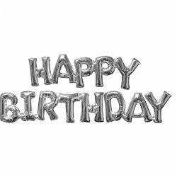 Napis HAPPY BIRTHDAY ze srebrnych balonów