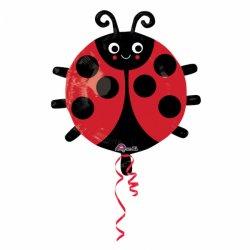 """Balon foliowy 18"""" Biedronka - czerwona w czarne kropki"""