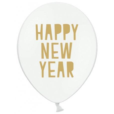 Happy New Year - Biały balon lateksowy, Pastel 30 cm