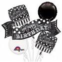 Bukiet Balonów Happy Birthday - 5 czarno białych balonów